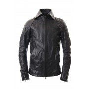 Detachable collar Horse leather jacket - ST105-0019A-Black-1