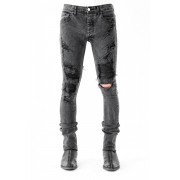 17SS Shark skin leather used as patched underneath distressed black skinny denim-BLACK-1(26inch)