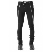 17SS Zipping down in front with no waist in summer jerzy trouser-BLACK-1(26inch)