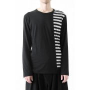 Vertical Switched Part Long Sleeve Shirt-Black-1