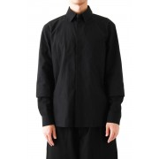 Double Layered Sleeve Fly Front Shirt-Black-2