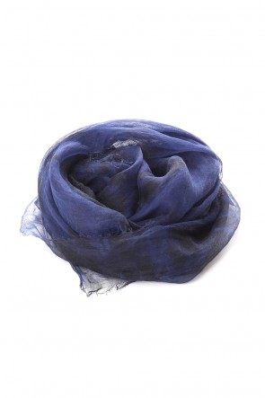 "suzusan 20SS Transparent Rameie Shawl ""Madara Shibori""  Dark Blue / Black"
