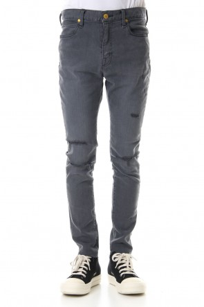 FACTOTUM 19-20AW High Power Stretch Denim Damage Skinny Pants - Black