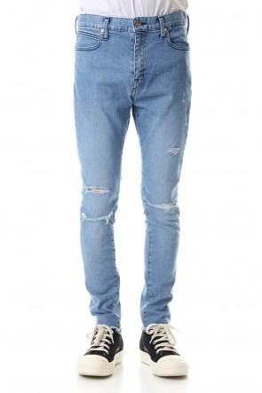FACTOTUM 19-20AW High Power Stretch Denim Damage Skinny Pants - Indigo