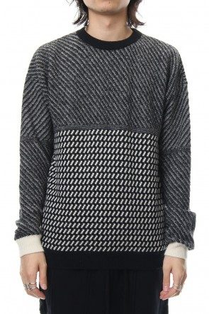 FACTOTUM 18-19AW 7G Alpaca Wool Allan Pattern Crew Knit - black