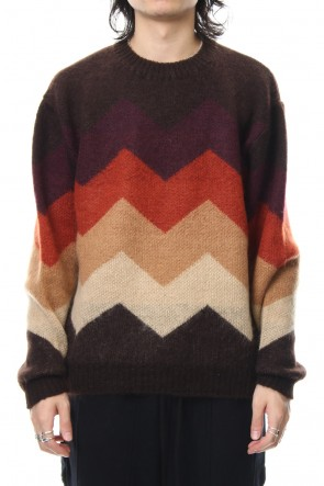 FACTOTUM 18-19AW Mohair Shaggy Knit Crew Pullover - Brown
