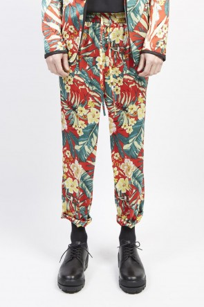 GalaabenD 19S PE Dessin tropical print drawstring pants Red