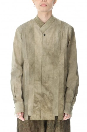ZIGGY CHEN 20-21AW Uneven Dyed Collarless SHIRT