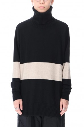 ZIGGY CHEN 20-21AW Baby Cashmere Bicolor KNIT Black × Off White