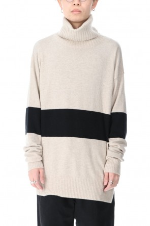 ZIGGY CHEN 20-21AW Baby Cashmere Bicolor KNIT Off White × Black