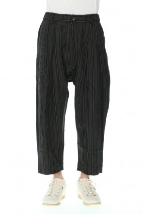 ZIGGY CHEN 21SS Pleated Drop crotch Cropped trousers Black