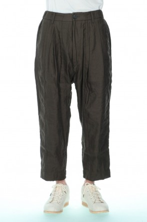 ZIGGY CHEN 21SS Pleated Drop crotch Cropped trousers Dark Green
