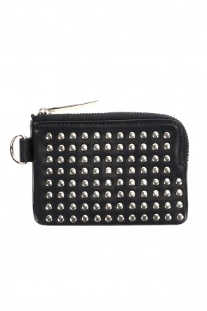 PATRICK STEPHAN Classic Leather coin case 'all-studs' Silver