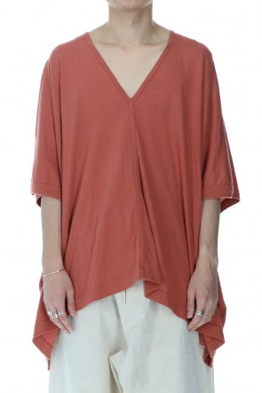 O PROJECT 21SS Wide fit V-neck T-shirt Coral