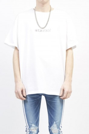 GalaabenD 19S GLD state out line print T-shirt (big) White
