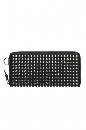 PATRICK STEPHAN Classic Leather long wallet fold 'all-studs' 2 Silver