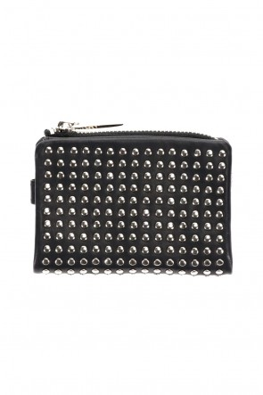 PATRICK STEPHAN Classic Leather micro wallet 'all-studs' 2 Silver