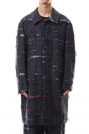 amok 19-20AW CHECK DAMAGE COAT - Black
