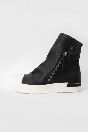 "CINZIA ARAIA 16-17AW 16AW 'RING""  Side ZIP Flap Sneakers BLACK×WHITE"