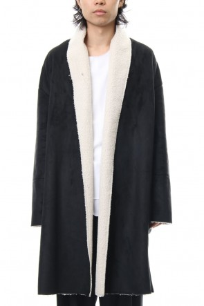 ASKyy 18-19AW Fake Mouton Coat (LONG) - blk/ecru