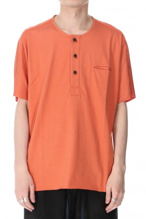 individual sentiments 21SS UNISEX WOVEN HENRY NECK T-SHIRT Physalis Orange