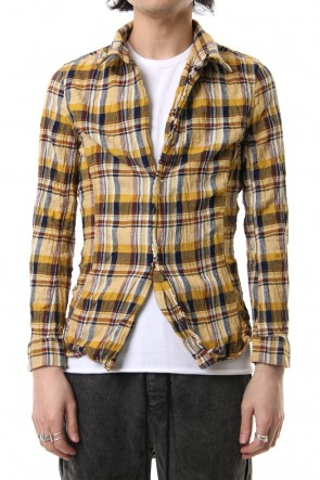 wjk 19SS vintage check hook shirt Yellow