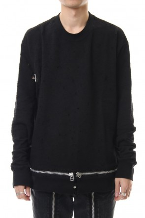 JOHN LAWRENCE SULLIVAN 20SS DAMAGED SWEAT ZIPPED PULLOVER