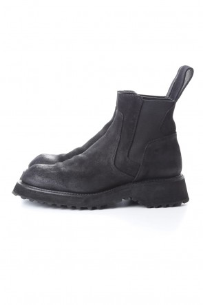JULIUS 20-21AW COATED SUEDE CHELSEA BOOTS BLACK