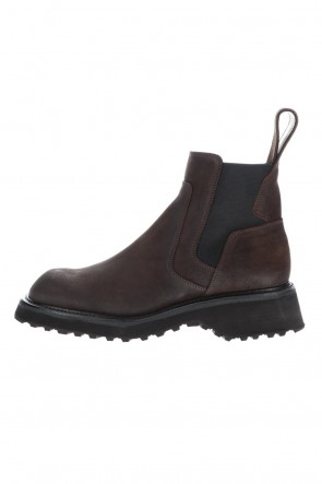JULIUS 20-21AW COATED SUEDE CHELSEA BOOTS BROWN