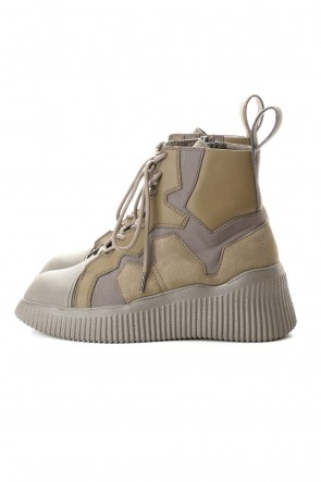 JULIUS 20-21AW PADDED LACE-UP BOOTS KHAKI