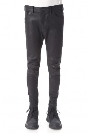 JULIUS 20-21AW TUCKED KNEE SKINNY DENIM PANTS (Coating)