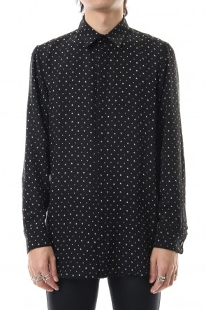 GalaabenD 19-20AW Chiffon star print shirt Black × Off White