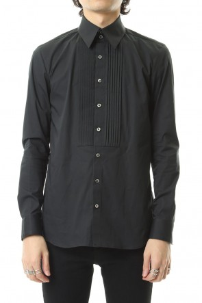 GalaabenD 19-20AW Broad cross stretch pleated bosom shirt Black