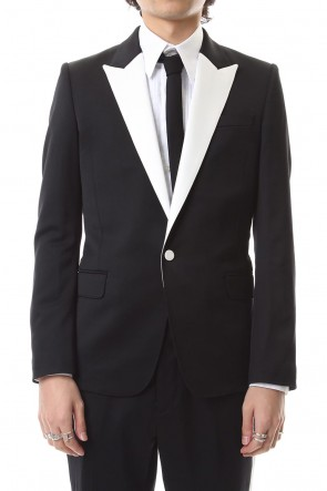 GalaabenD 19-20AW Tuxedo cross stretch 1B jacket Black × Off White