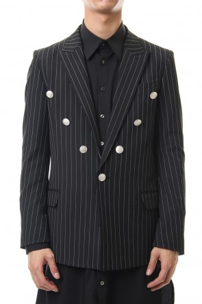 GalaabenD 20PS Cozmicool Pin Striped Stretch Jacket (Black × Off White)