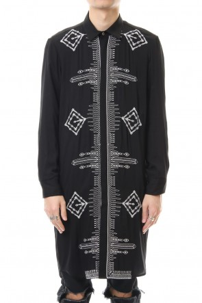 GalaabenD 20SS Ethnic embroidery long shirt Black × Off White