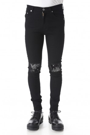 GalaabenD 20SS EX fit denim leggings pants (Bandana embroidery)