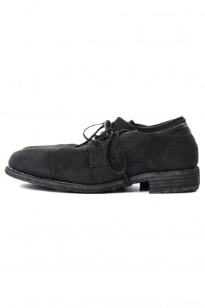 Guidi 19SS Classic Derby Shoes Laced Up Single Sole - 992  Linen - Black