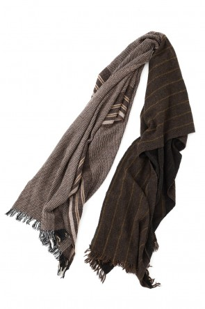 ZIGGY CHEN 20-21AW Wool Nylon switchover SCARF Black x Brown Stripe 0M2035010