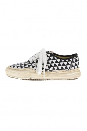 MIHARAYASUHIRO21-22AW-BAKER- Over-dyed original sole printed canvas Low-Top sneakers Black