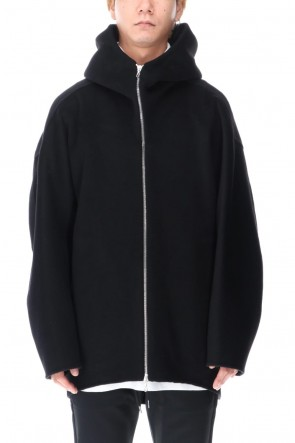 ATTACHMENT 20-21AW Cashmere mix double face beaver Hooded half coat