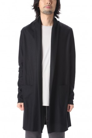 ATTACHMENT 20-21AW Flannelana smooth Long Stone cardigan Black