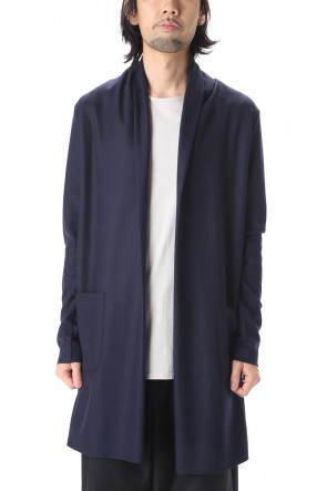 ATTACHMENT 20-21AW Flannelana smooth Long Stone cardigan Navy