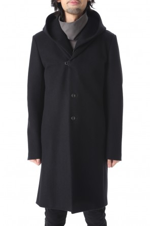 ATTACHMENT 20-21AW Cashmere mix knit flannel 3 layers Hooded chester coat Black