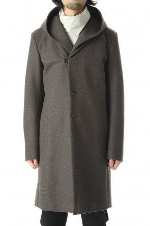 ATTACHMENT20-21AWCashmere mix knit flannel 3 layers Hooded chester coat Khaki Gray