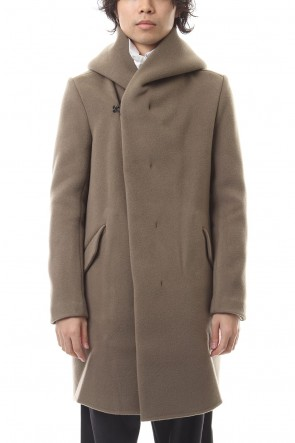 ATTACHMENT 19-20AW Cashmere mixed double face beaver hooded coat Khaki