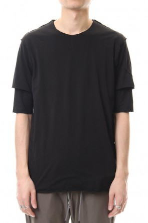 ATTACHMENT 20SS 80/2 Tightness plain stitches Crew neck layered T-Shirt Black