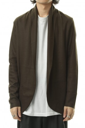 ATTACHMENT 19-20AW Flannerana smooth stole cardigan D-Khaki