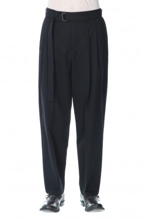 ATTACHMENT21-22AW2/60 Flannelana high density gabardine 2 tuck Wide tapered pants Black
