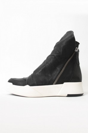 "CINZIA ARAIA 16-17AW 16AW 'RING"" Layered Side ZIP Sneakers BLACK×WHITE"